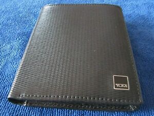 "Tumi Brand New Double Billfold Wallet Black Leather (4 1/4"" x 4.7/8"") Bifold"