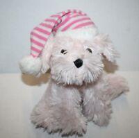 "Dan Dee Plush Stuffed Animal Soft Toy PINK Puppy DOG 8"" Striped PJ Cap Hat Pup"