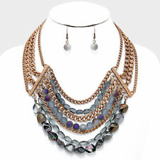 Rose gold burnished purple multi layer glass bead necklace set e 4