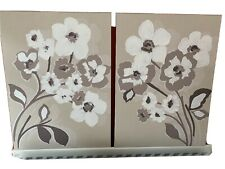 Two Next Canvas Prints, Floral Design, Light Brown Background, Slight Embossing