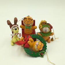 LOT OF 4 Wood Dakin Garfield Christmas Ornaments Jack-in-Box Odie  ELF