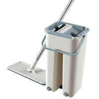 Flat Squeeze Mop And Bucket Hands Free Wringing Floor Cleaning Microfiber Mops
