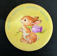 New listing Vintage Easter pinback Hippity Hoppity Happity Easter Easter Bunny Round pin