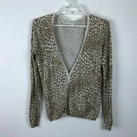 Banana Republic Animal Print Cardigan Sweater Brown Beige Cotton V Neck Size M