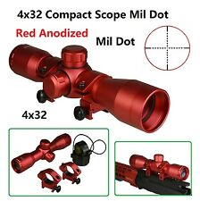Anodized Red Color 4X32 Compact .223 .308 7.62x39 MM Scope Mil With Ring