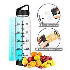 32 oz Straw Water Bottle Leak Proof Measurement Markings Eco-Friendly BPA Free