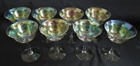 Set of 8 Iridescent Tall Sherbet/ Champagne Stems - Firelight - Unknown Maker