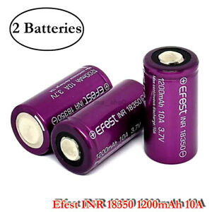 2x INR 18350 1200mAh 10A Rechargeable High Drain Flat Top 3.7V Battery