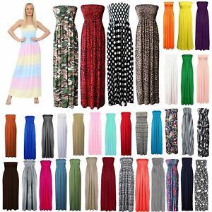 Womens Plus Size Strapless Maxi Dress ladies dresses Bandeau Boobtube Long Dress