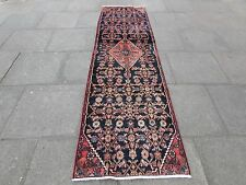 Old Traditional Hand Made Persian Rug Oriental Blue Wool Long Runner 285x80cm