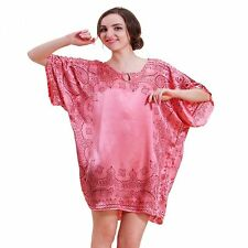 Pyjama ample Vêtement Chemise de Nuit  en Soie Rose et motifs