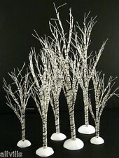 WINTER BIRCH TREE #52636 SET OF 6 DEPT 56 USE WITH ALL VILLAGES GREAT VALUE