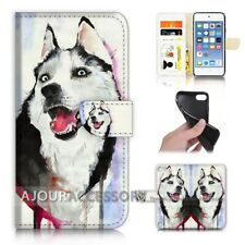 ( For iPod Touch 6 ) Wallet Flip Case Cover AJ31152 Husky Dog