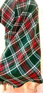 Vintage Wool Blanket - Plaid Tartan Green Red Gold - Camp Stadium Throw by Troy