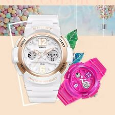 Women Girls Lady Date Silicone Jelly Waterproof Digital Analog Sport Wrist Watch