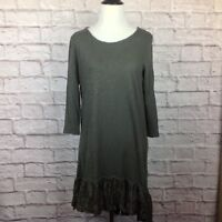 Dylan Tunic Top Women Small Heathered Gray Lace High Low