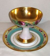 Limoges D &Co Hand Painted Roses Gold Porcelain Pedestal Sherbet Cup with Saucer