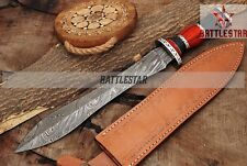 15.5 INCHES FANCY HAND MADE DAMASCUS STEEL HUNTING DAGGER KNIFE HANDLE BULL HORN