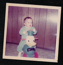 Vintage Photograph Cute Little Baby Riding on Small Donald Duck Bike / Bicycle