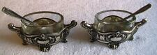 ANTIQUE PAIR OF .800 SILVER SALT CONTAINERS AND SPOONS BEAUTIFUL RARE PIECE