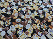 WRISTWATCH FABRIC BY HI-FASHION FABRICS..1992..1 YARD BY 44 IN. ASSORTED WATCHES