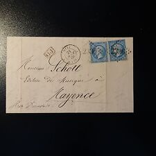 FRANCE NAPOLÉON No.22 x2 ON LETTER COVER GC 2336 METZ FOR HESSIAN MAINZ