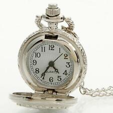Unisex Retro Style Silver Quartz Pocket Dress Watch Pendant Chain Necklace