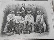 Gravure 1872 - Les ambassadeurs Birmans en Europe