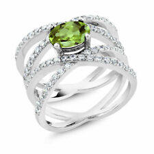 10k White Gold Oval Peridot Diamond Ring