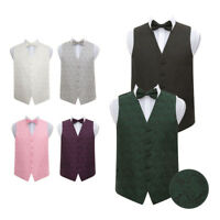 Highest Quality Paisley Floral Men's Wedding Waistcoat Vest with Bow Tie & Hanky