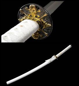 handmade Japanese Katana Samurai Sword 1060 Carbon Steel Full Tang Sharp Blade