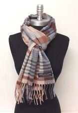 Men's 100% CASHMERE SCARF Scotland Soft Wool Wrap Plaid Color Khaki Brown Blue