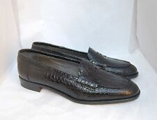 WOMAN - 38½ -  PENNY LOAFER - SHINE BLACK ALLIGATOR - LEATHER SOLE - LINING