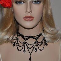 SET Gothic Collier und Ohrringe Choker Perlen Kette Tracht Halskette Schwarz CS3