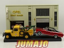 Diorama 1/43 Garage Opel resine + IKA Baqueano jeep willys + Commodore A GSE