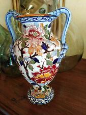 Vase balustre faience de Gien décor pivoines