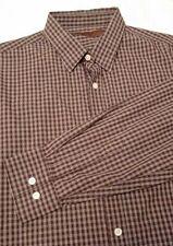 Perry Ellis Mens Dress Shirt - Brown Plaid Long Sleeve Button Down, Sz L - A711d