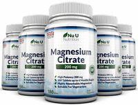 Magnesium Citrate 200mg  5 BOTTLES 180 tablets UK Made Money back Guarantee Nu U