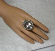 Rock Crystal 76 Diamond Cocktail Ring 14K White Gold Hollywood Regency Massive