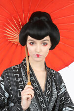 Geisha Wig Black Synthetic Hair Top Bun Asian Style Costume Wig