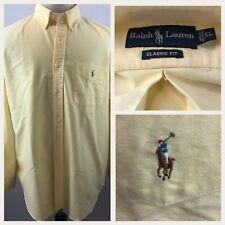 Ralph Lauren Men Dress Shirt Size XL Classic Fit Yellow100% Cotton