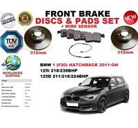 FOR BMW 125 F20 HATCHBACK 2011- 312MM FRONT BRAKE DISCS SET + PADS KIT + SENSOR