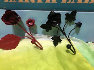 Black And Red Rose Diplay Metal Hooks