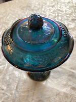 CARNIVAL INDIANA GLASS Iridescent Pedestal Footed Bowl Candy Dish W/Lid Vintage