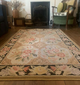 """Vintage 1920s / 30s American Hand-Hooked Bordered Floral Wool Rug 5ft 4"""" x 3ft 7"""