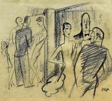 """Andre Szenes (""""Dugo"""") 1895-1957 / Zeichnung Gespräch in der Oper / Jugend 1927"""