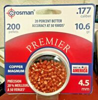 Crosman, 200 Pellets, .177 Caliber, 10.6gr., 4.5mm, PREMIER, Copper Magnum, USA