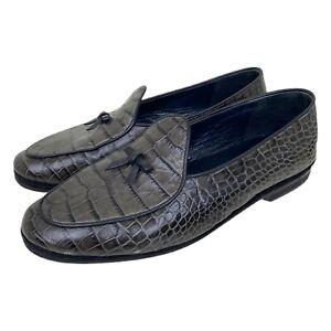 RUBINACCI Marphy Belgian Loafers Embossed Croc Shoes Men's Sz US 10 - EUR 43