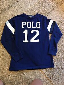 Boys Ralph Lauren navy LONG sleeve tee-shirt size 14-16