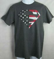 DC Comics Superman Mens T-Shirt American Flag New Officially Licensed Gray